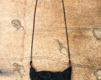 beautiful crocheted Necklace with copper - black boho fashion clean