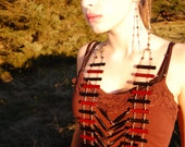 Bamboo Breastplate Ladder Necklace--Boho Native American Asian Fusion Tribal Warrior Princess Post Apocalyptic