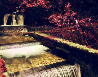 Nature decor, red wall art, red colors of autumn, surreal, red trees and river, small waterfall, forest, print you can frame for your wall