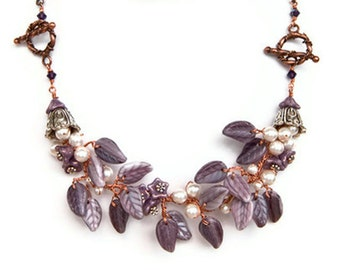 Purple Flower Necklace, Purple Beaded Necklace, Purple Leaf Necklace, Purple Nature Jewelry, Purple Bridal Jewelry with mixed metals