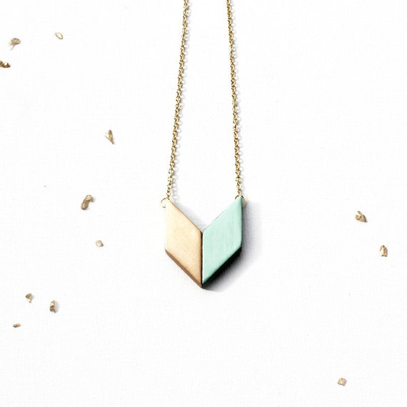 Gold & Mint Arrow Pendant / geometric wooden chevron pendant necklace in mint green, short gold chain - geometric jewelry - gift for her