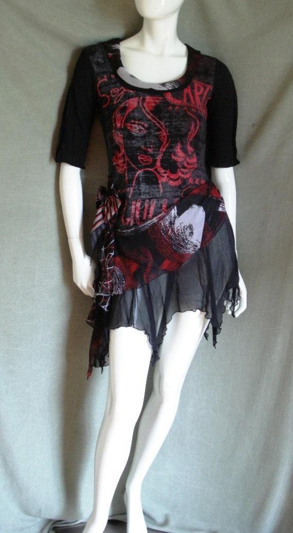 Red black tattered skirt mini dress Boho tunic Upcycled t-shirt Bohemian dress Uneven hem top Women's Eco Friendly Clothing Gypsy tunic