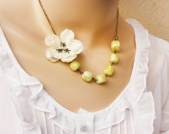 asymetrical necklace,  cherry blossom necklace, bead necklace, holiday jewelry