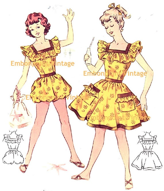 Plus Size (or any size) Vintage 1950s Beach Set Pattern - PDF - Pattern No 132 133 Joann