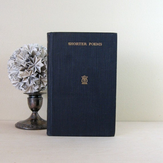 Shorter Poems - Vintage 1920s Poetry Book - Eaton Co Toronto Black Textbook - Wedding Day Something Old Browning Longfellow Edgar Allen Poe