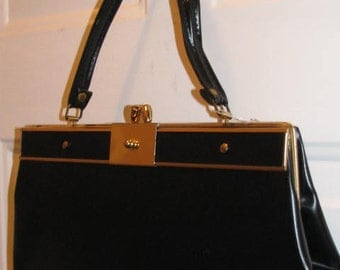 One of a Kind MIRROR BAG Hidden Spy Black Kelly Purse Handbag // Pin Up Structured Gold Frame