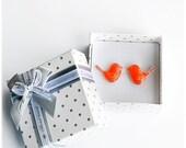Orange Birds Stud Earrings Bright Neon earrings