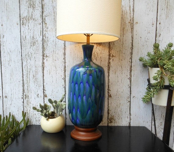 LARGE table lamp / retro drip glazed pottery / peacock blue / SALE