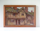 Antique Framed Art Print, UK Tarring's Ancient Cottages by Aldridge Bros. Worthing, Sussex County