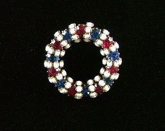 Americana Red, White and Blue Brooch