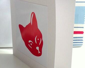 Red Cat Card - handmade