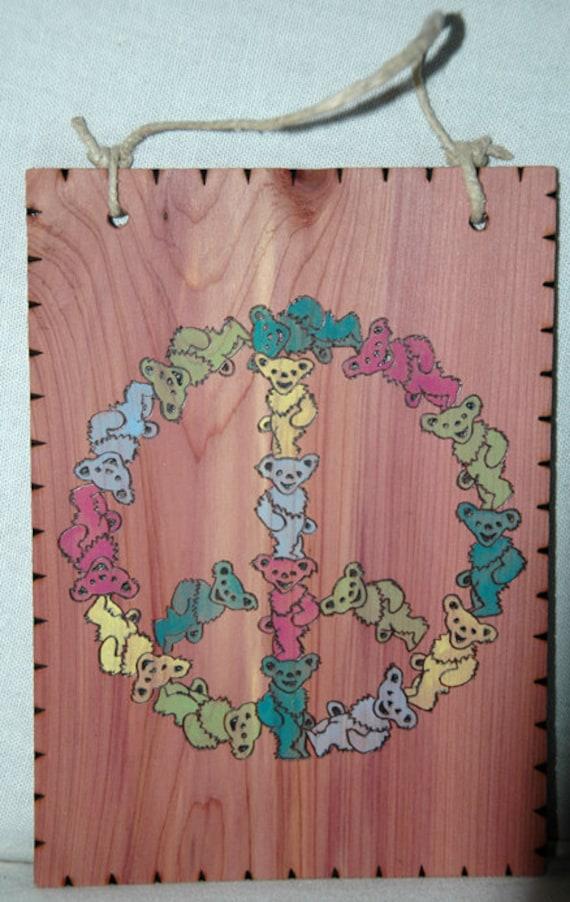 Wall Plaque - Dancing Bear Peace Wood Wall Plaque