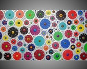 "Colorful Circle Painting wall art decoration abstract painting on canvas 3D Textured abstract painting 48"" x 24"" Made to Order by ilonka"