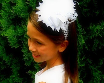 Over the top hair bow, Headband, White over the top bow boutique hair bow curly ostrich puff bow