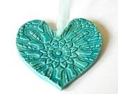 Ceramic Heart Ornament Caribbean Blue Pottery Aqua Vintage Lace Pattern Organza Ribbon