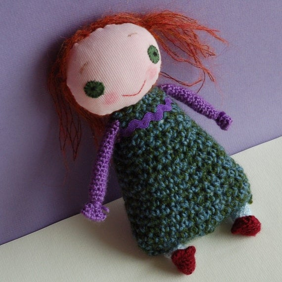 Handmade doll with personality, smiling plush toy Amanda. Immediate and FREE SHIPPING.
