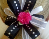 New - Black White Diamond Fuchsia Flower Ponytail Holder / Custom Handmade for Newborn Baby Toddler Child