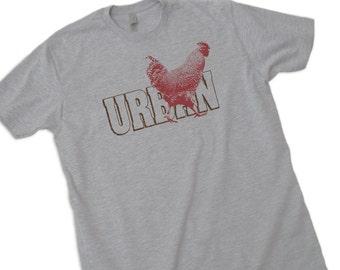 Urban Chicken T Shirt- Mens / Unisex Tee- Backyard Farm Hen Tshirt- chicken shirt rooster