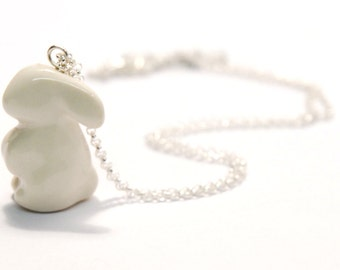 bunny necklace, porcelain rabbit on a silver chain