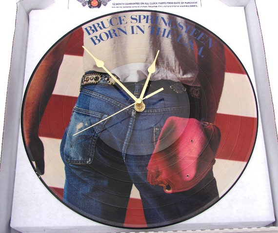 "Bruce SPRINGSTEEN Vinyl Record CLOCK made from original 12"" Picture disc ""Born In The USA""  stars and stripes gift for guys dad mum fans"