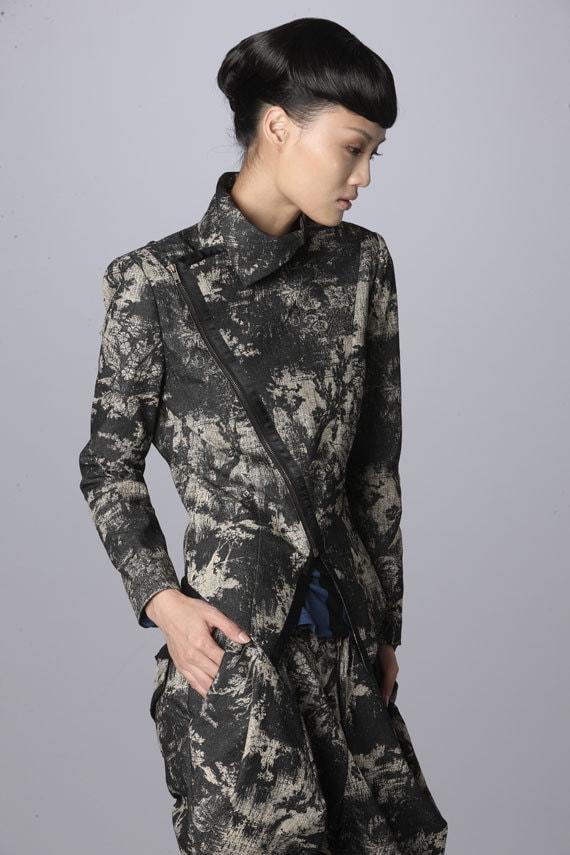 Print Biker With Asymmetric Zip Jacket
