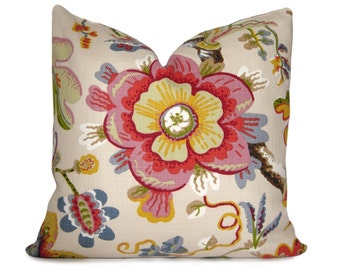Wonderland Pearl Floral Decorative Pillow Cover in Coral, Red, Yellow, Pink, Slate and Olive Green - Throw Pillow - Square and Lumbar Sizes