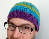 man / woman unisex Hat - fluo colors neon  turquoise, green and purple stripes