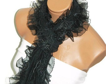 Womens shawl, scarves. Black Frilly, fancy flower pattern sim. wedding,bridal,authentic, romantic, elegant