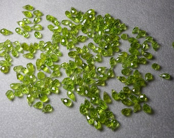Almost Perfect Peridot Microfaceted Tear Drops 5mm - 7mm