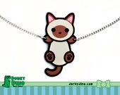 Hanging Cat Necklace: Siamese, Burmese, Tonkinese, Seal Point Climbing Kitten Pendant