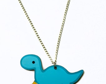 Blue Dinosaur Necklace: Brontosaurus Wearing Rain Boots, Rainy Day Dino with Galoshes