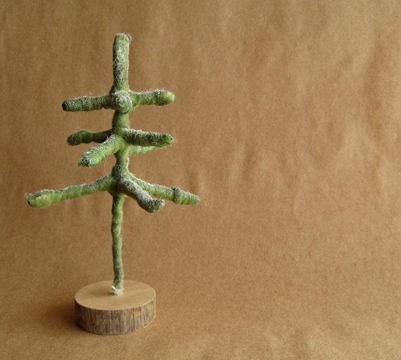 Pine tree on old wood base - painted wool