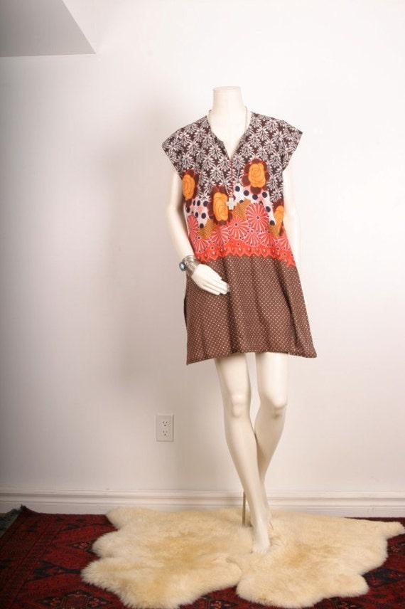 Tunic dress floral hippie gypsy brown orange flower women size M or L  medium or Large