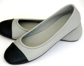 ANN. Ballet flats / grey leather shoes / womens leather shoes / grey flats. Sizes US 4-13, EUR 35-43. Available in different leather colors.