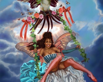 13x17 Signed African American Faerie on a Swing Print