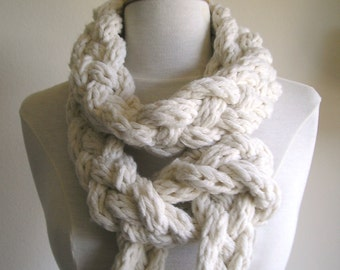"Braided ""Rapunzel"" Scarf - Chunky, Skinny, and Extra, Extra Long - Ivory wool/cotton blend"