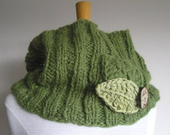 "Brushed Alpaca Cowl -- ""Leaves of Grass"" -- with crocheted leaves and large button"