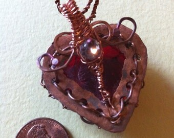 Valentines gift Copper caged heaet cranberry Red Glass Bound Heart Love Pendant