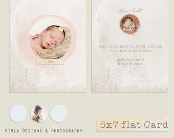 Birth Announcement Card Template - .psd file