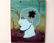 Eco-Minded - Original Canvas Painting - 11 x 14 Surreal Wall Art - Teal Phrenology Head - Neurology, Surrealism, Psychology - Environmental