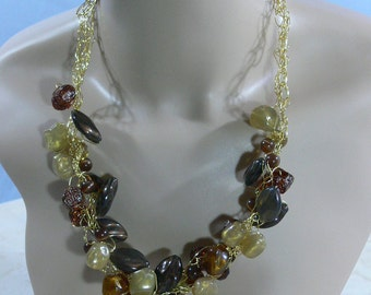 Sale - Crocheted Wire & Bead Necklace - FS-055