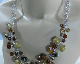 Sale - Crocheted Wire & Bead Necklace - FS-057