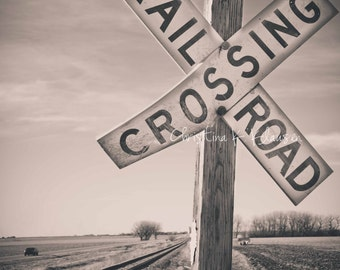 Railroad Photo. Railroad Crossing Sign Photograph. Nebraska. Train Photo. Rural. Boy's Room Decor. Black and White. Fine Art Photography