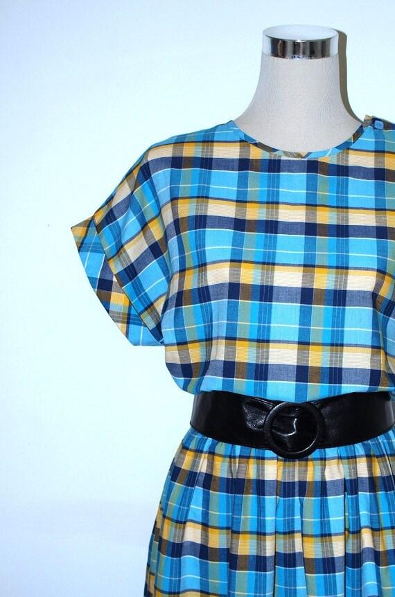 Retro 1980's midi dress / Day dress. Blue and yellow checked dress. Madras check dress. Medium.