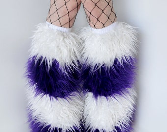 CUSTOM 4 STRIPE furry bootcovers fuzzy boots gogo monster fur legwarmers rave fluffies
