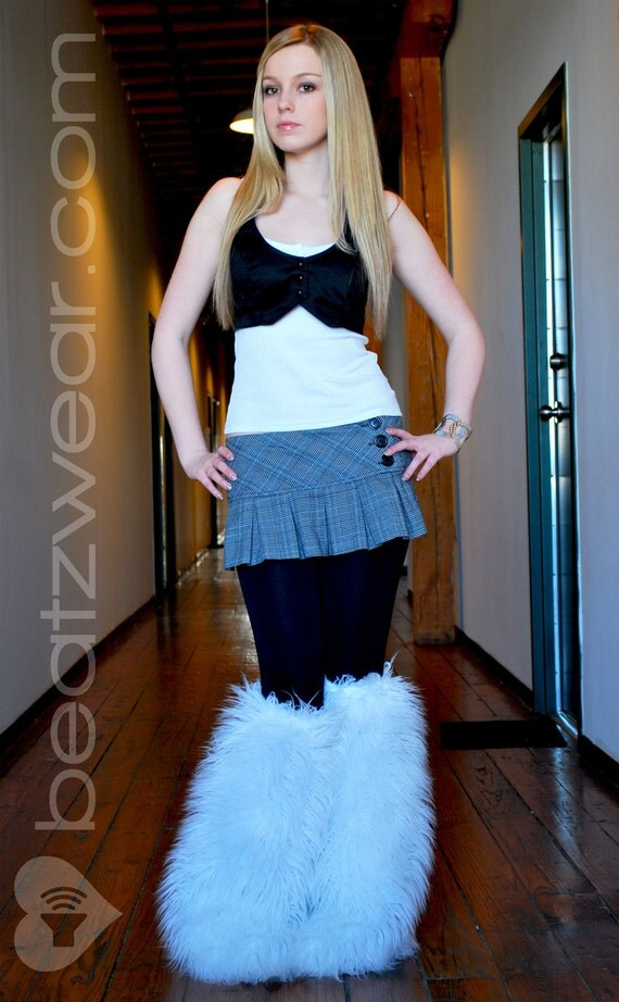 MADE TO ORDER white extra long fur  Thigh high fluffies Above the knee gogo boot covers fluffy legwarmers rave anime