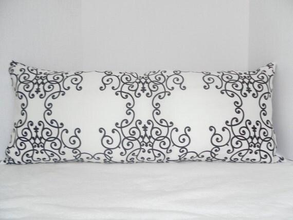 Long Lumbar  Pillow Cover in Black, White & Gray for 14x36  insert