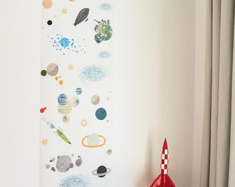 Children wallpaper (1 panel) : The space - kids wall art - wallpaper for walls - wall mural
