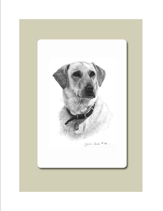 Yellow Labrador Retriever Specialty Mouse Pad from Original Pencil Drawing by Jennie Truitt