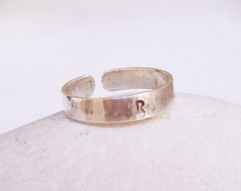 Men, Women Initial Ring, Personalized Hammered Sterling Silver Ring, Name Silver Ring, Custom Hand Stamped Message, Date, Initials, Unisex